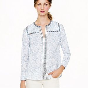 J. Crew Embroidered Peasant Top 8 G1873